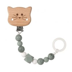 Lassig Soother Holder Wood/Silicone Little Chums cat