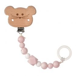 Lassig Soother Holder Wood/Silicone Little Chums mouse